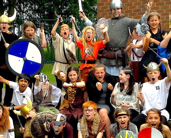 School trip as Vikings including costumes
